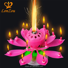 Lotus flower candle wholesale fireworks musical lotus birthday candle