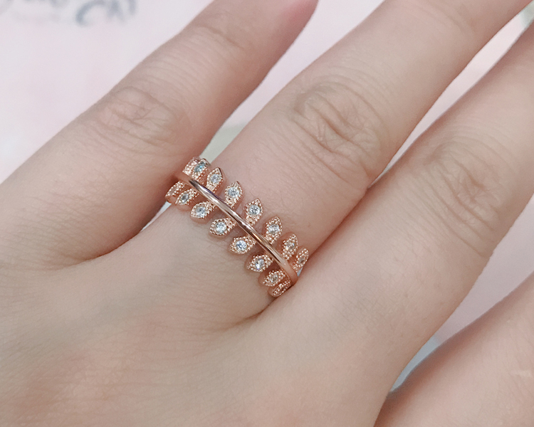 OB Jewelry-High Polish 92.5% Silver Finger Jewelry Real Rose Gold Plated Sterling Silver Ring For Women