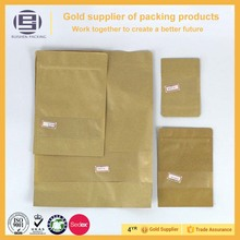 Customized different sizes of standing up candy package kraft paper bag with window,paper bag with zip