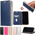 Premium Carbon Fiber Lines Flip PU Leather Case Magnetic Closure with Stand Wallet Card Slot Protective Case for iPhone 8