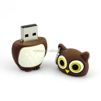 Bulk Cheap Custom soft PVC owl usb flash drive 8GB, gift custom usb stick owl shape