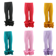 2017 Latest style cotton ruffles long pants baby girls solild brown Kids Ruffle Icing Pants