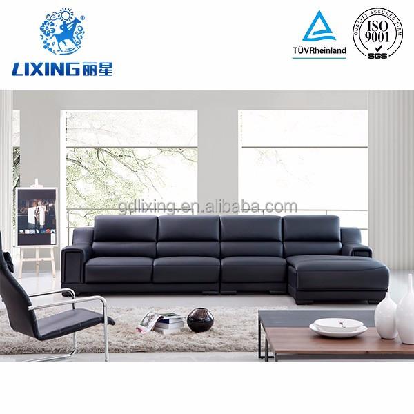 Salon ensemble moderne confortable noir canap en cuir for Protection canape cuir