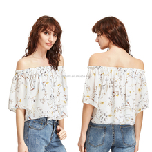 Women Long Sleeve Off Shoulder Chiffon Loose Blouse & Top Sweet Floral Print Shirt New Design