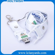 Oem cheap printed neck strap with usb flash drive