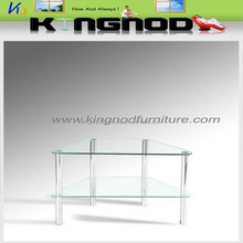 cheap tempered glass lcd chromed tube tv stand/tv table/tv cabinet
