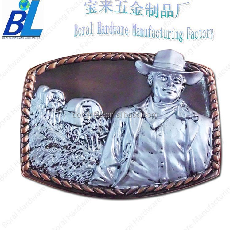 Painted antique metal belt buckle for cowboy