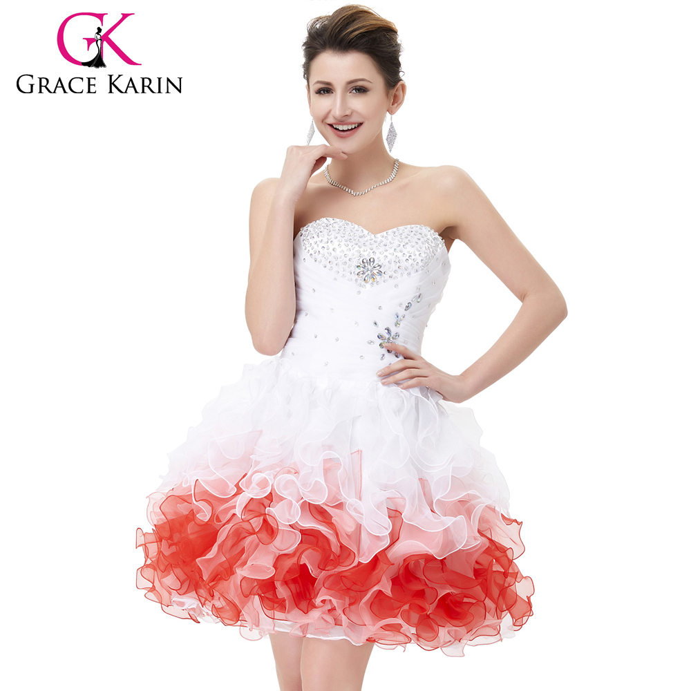 Grace Karin Strapless Organza Real Pictures of Cocktail Dresses Short Red CL4977-1