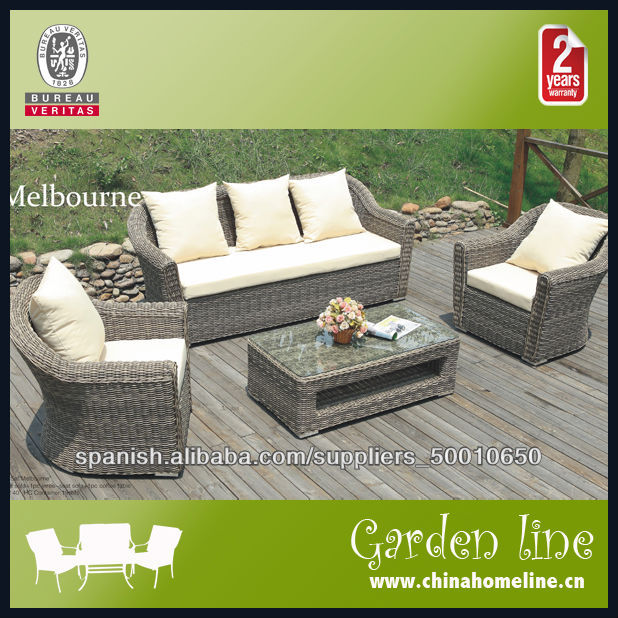 Sof rattan sint tico con cojines conjunto mueble de for Rattan sintetico muebles jardin