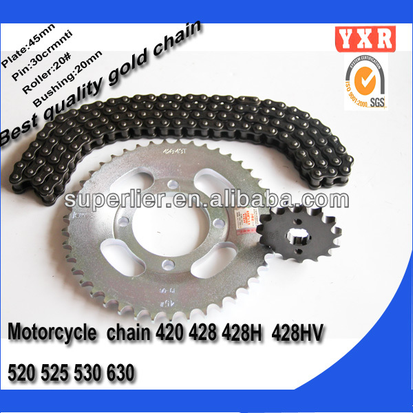 Chinese manufacturer spare parts chain sprocket set for did motorcycle chain