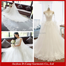 WD351 Fashion detachable cape ball gown new wedding dresses in dubai middle east wedding dresses for mature women