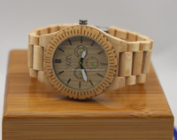 2015 natural waterproof wood watch with real 3 wheels watch