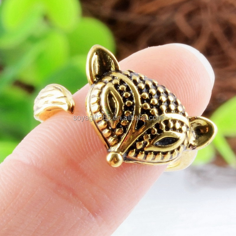 Fox Animal Ring Jewelry Vintage Antique Gold Silver Wrap Adjustable Ring