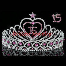 Big Pageant Crowns Sweet 15 & 16 Crystal Pink Heart Star Quinceanera Tiara