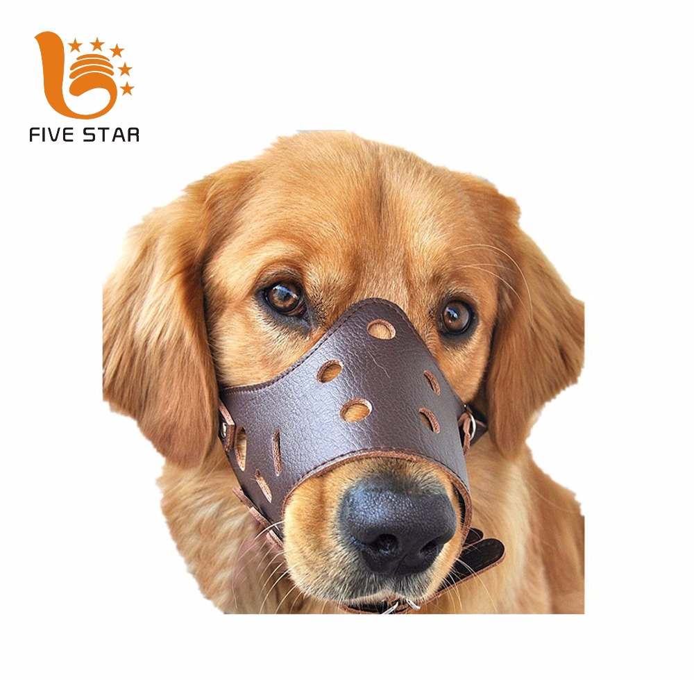 Five Star Adjustable Anti-biting Breathable Safety Leather Dog Muzzle