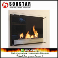 2016 made in china stainless steel long wall mounted ethanol fireplace