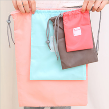 Hot sale low price shopping bags with drawstring candy colors shoes organiser travel storage bags