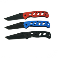 3.5inch 420ss tanto blade pocket knife with black oxide coating blade and frame aluminum handle for daily usage