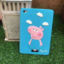 Rubber Silicone Peppa Pig Cloud Design Covers Cases for Ipad