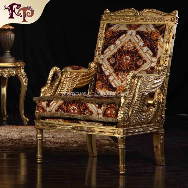 Luxury furniture gold expensive villa high back armchair Luxury wood furniture