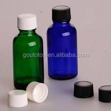 green glass essential oil bottle with multiple cap/essential oil glass with range from 5ml to 100ml