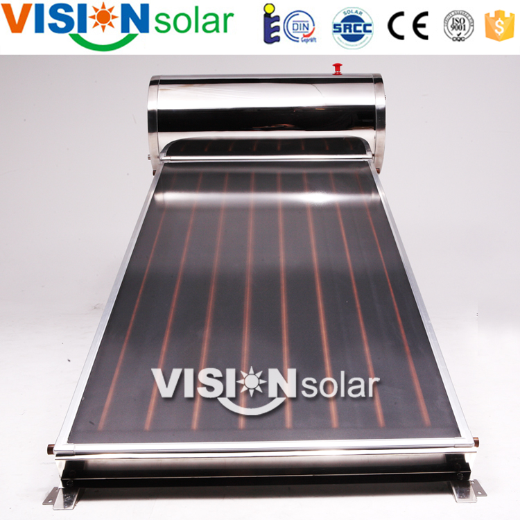 Flat solar panel hot water for roof installation