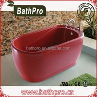 Brazil special design floor standing dark red bathtub wholesale