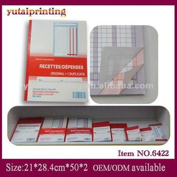 French language 2 parts NCR cheap sales receipt book printing