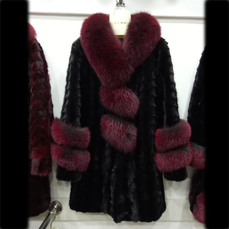 women winter warm pieces of mink fur coat with fox fur collar and cuff and double tiers fox fur front flyTD2106