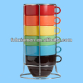 Multi color ceramic stacking coffee mug sets with stand
