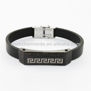 stainless steel black bracelet wire bracelet&bangles leather jewelry