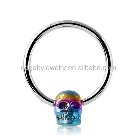 Skull heard 316L surgical steel nose piercing rings vibrating Body Jewelry