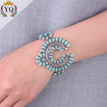 BYQ-00302 india silver turquoise bead open coff bangle bracelet squash blossom jewelry