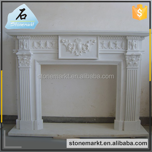 Home decor hand carved wall mounted white marble indoor fireplace mantel