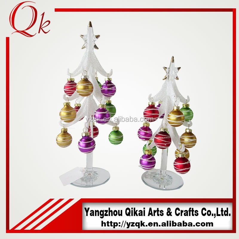 White glass Christmas tree with hand painted ball for decoration