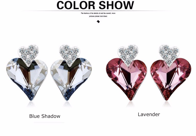 18K Rhodium Plated Lavender Austria Crystal Heart Shaped Stud Earring Crystal Ear Stud