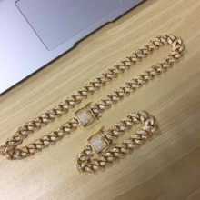 18K Gold Iced Out Hip Hop CZ Chain &amp; Bracelet Men Miami Cuban <strong>Necklace</strong>