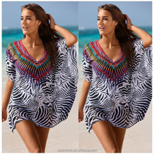 New V Neck Sun Shade The Sea Beach Holiday Chiffon Women Shirt Blouse Smock
