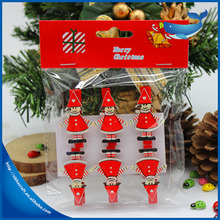 Customize Wood Crafts Christmas Wood Clip in top closure 6pcs/set Wooden Pegs