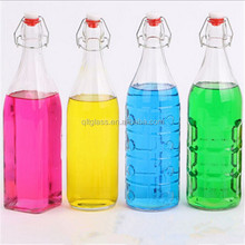 Clear empty glass bottle 1000 ml for beverage milk with cap