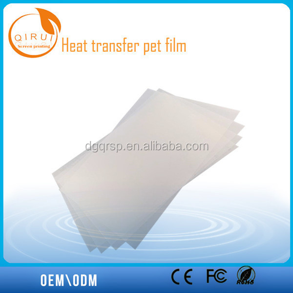 Offset printing pyrograph film, best quality PET film for clothing