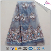 Popular flower French lace embroidered beaded tull fabric for clothing