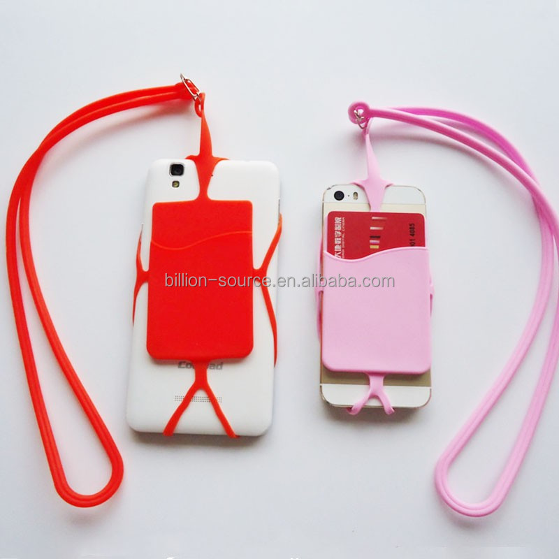 Event multi-function silicone phone housing with lanyard and wallet