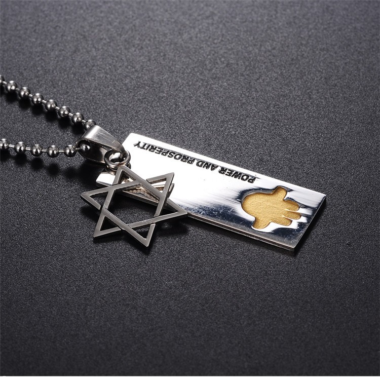 Fashion OEM stainless steel custom engraved jewish star necklace