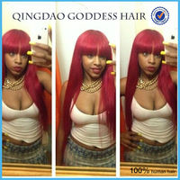 Red highlight full lace wig with chinese bangs silky straight 150% density human hair lace wig silk top