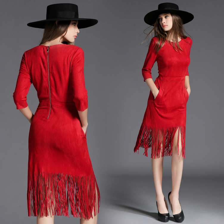 C71144A Fast Fashion chinese spring Suede Dresses For Women