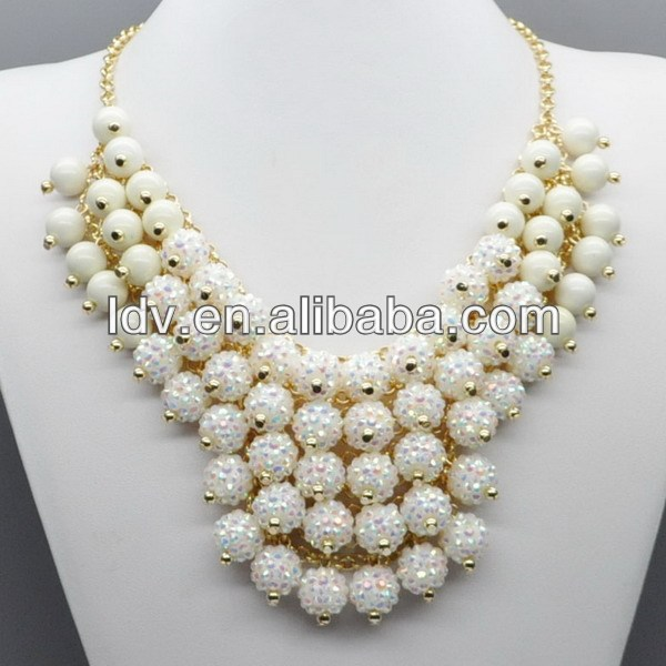 Pure snow white bridal for nigeria beads korean fashion necklace jewelry