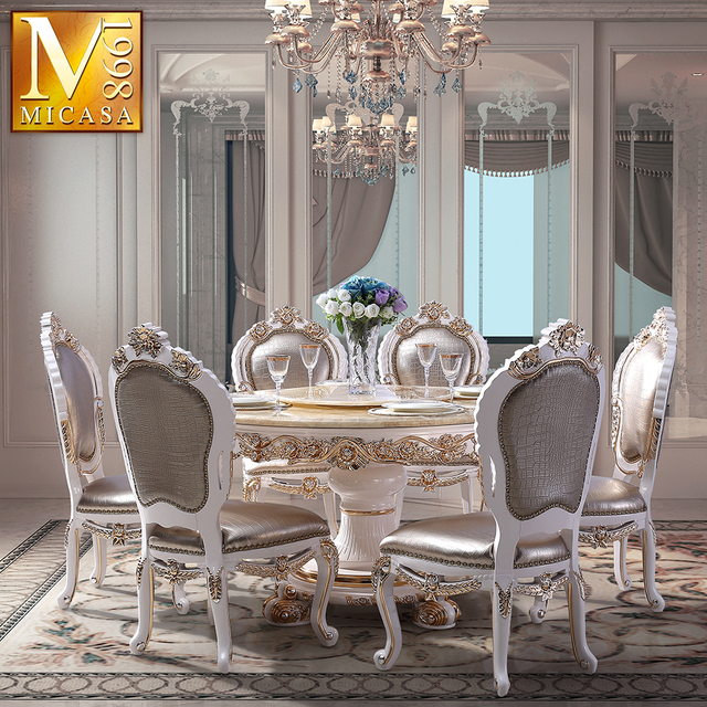 European Luxury Dinning Table Set Round French Dining Table And Chair Set
