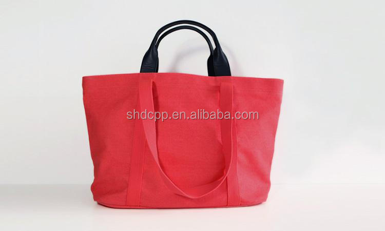Fancy custom logo red cotton canvas tote bag, heavy canvas tote bag wholesale