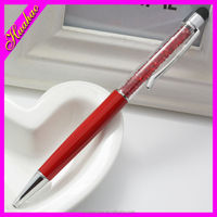 2015 new ballpoint pen/Red crystal metal ballpoint pen with brilliant crystal
